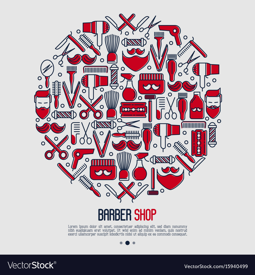 Barber shop concept in circle with thin line icons