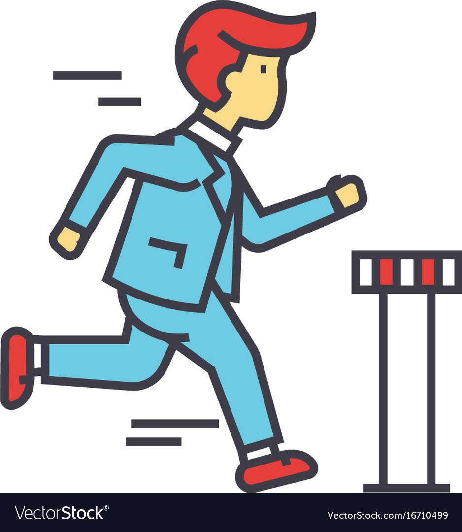 Businessman run cross finish line business race