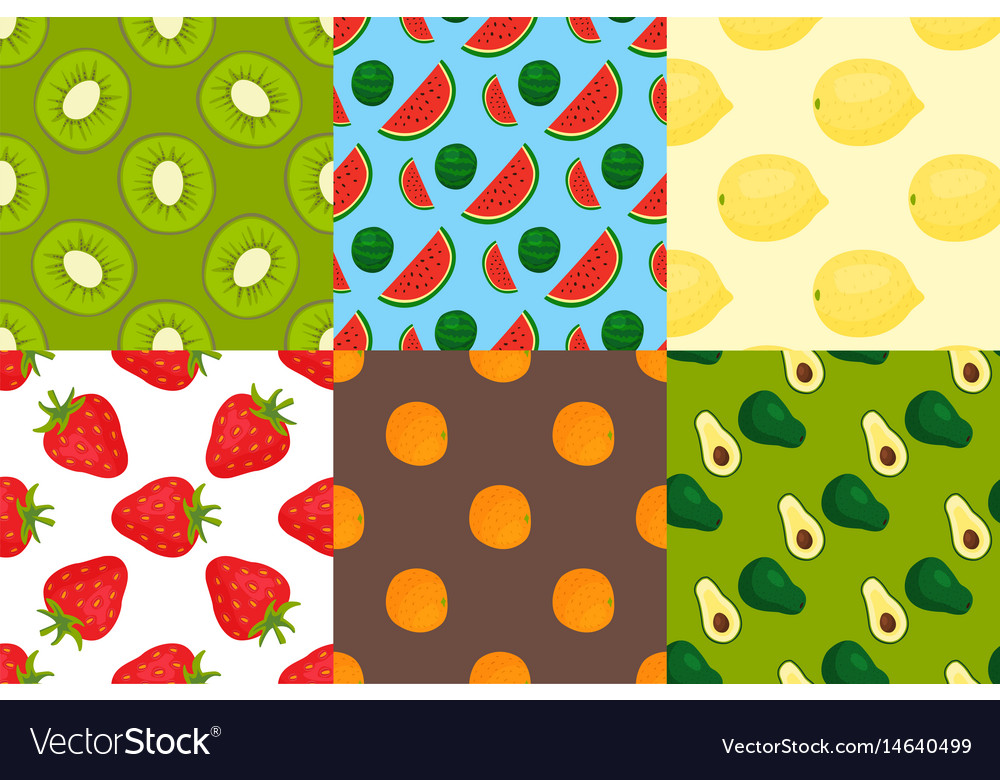 Cartoon fresh fruits in flat style seamless