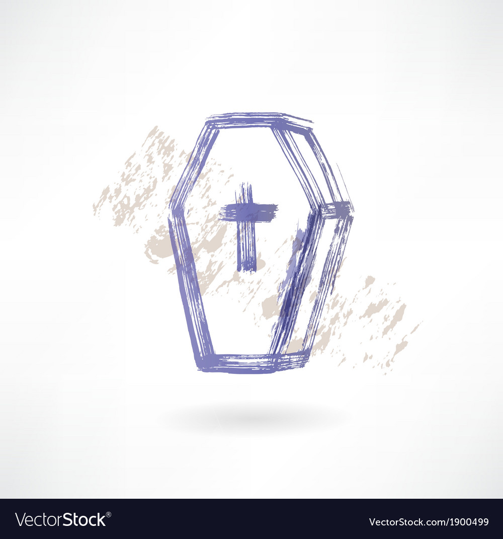 Coffin grunge icon vector image