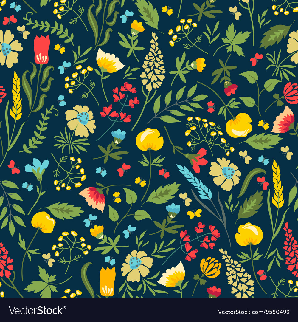 Cute seamless floral pattern with flowers and herb