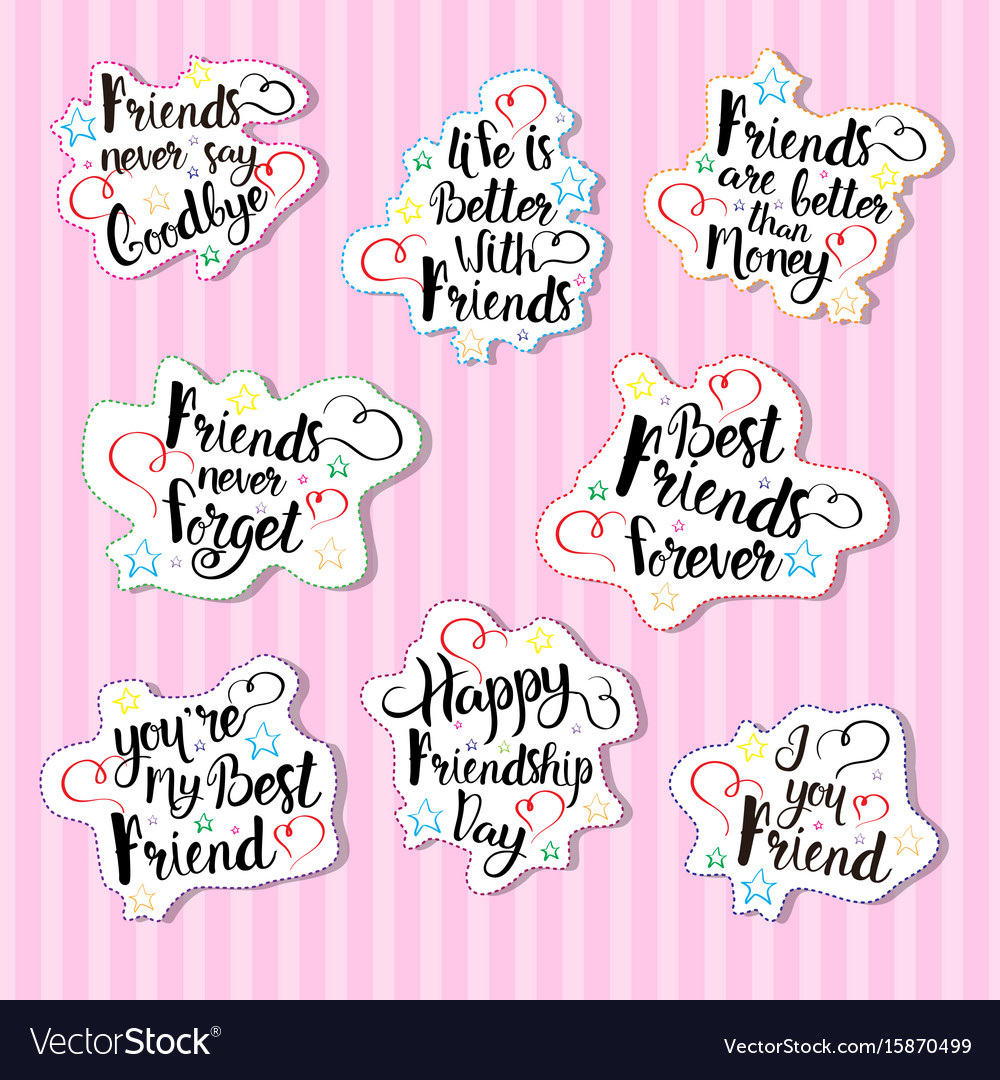 Happy Friendship Day Logo Set Greeting Cards Vector Image