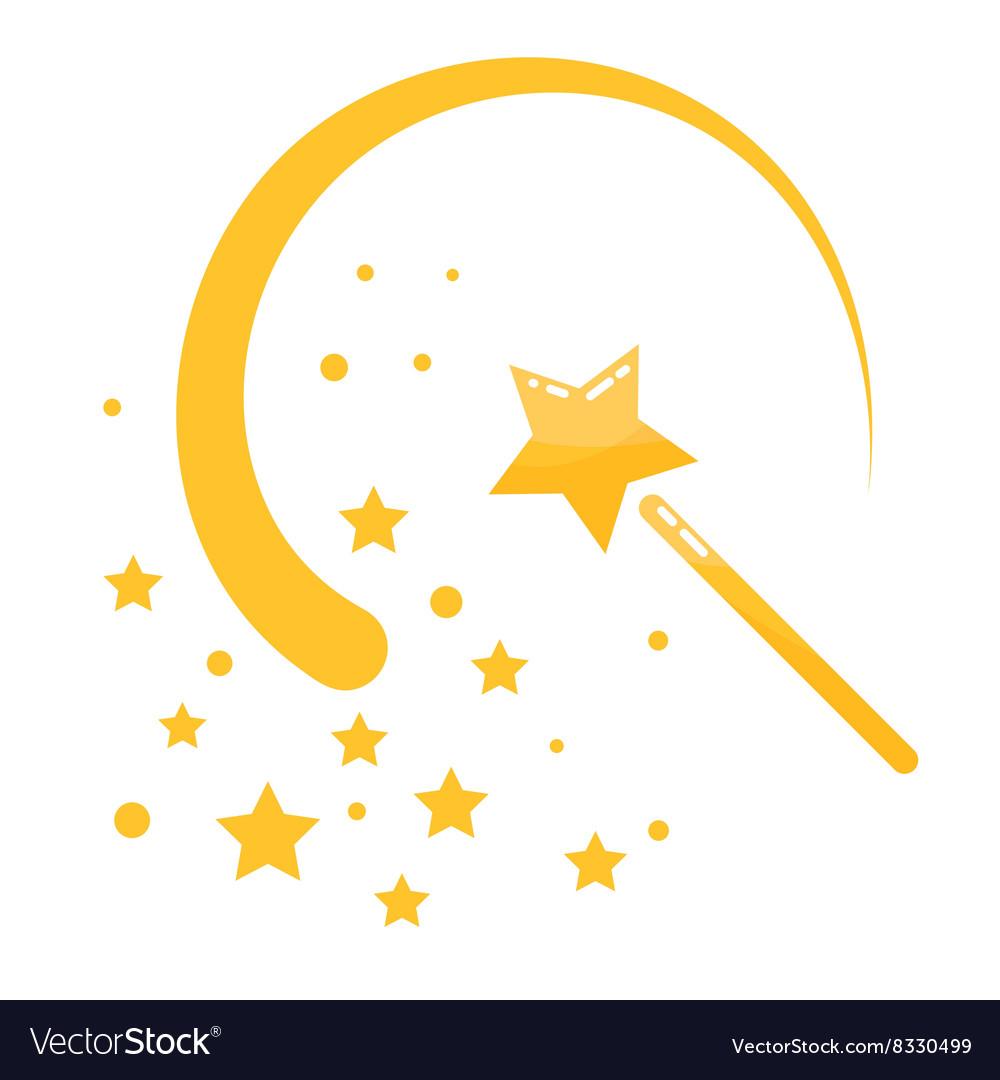 Magic wand stars flat icon cartoon