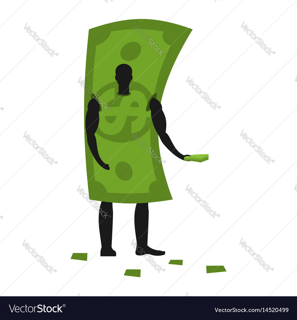 Money mascot man promoter male in dollar costume