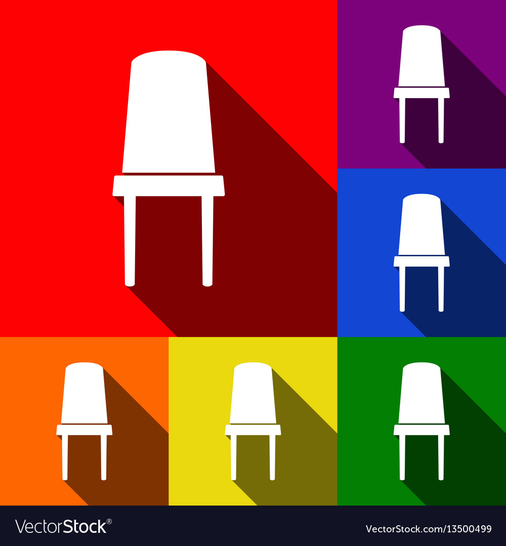 Office chair sign set of icons with flat