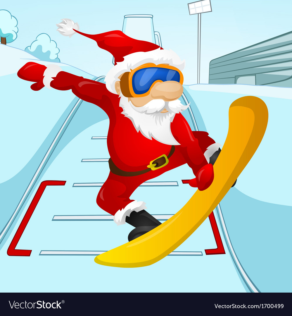 Дед мороз на сноуборде картинки нарисованные