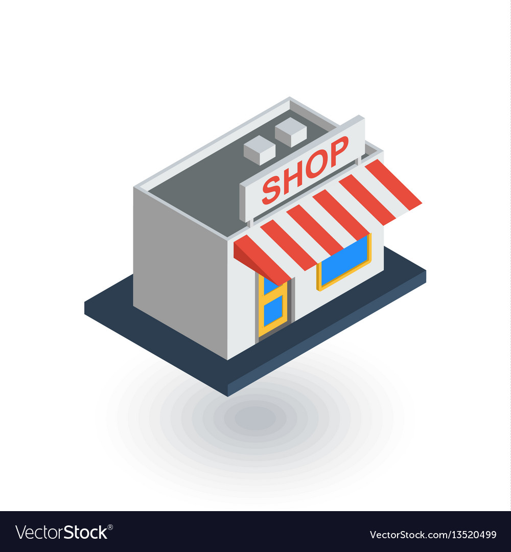 Shop building isometric flat icon 3d vector image