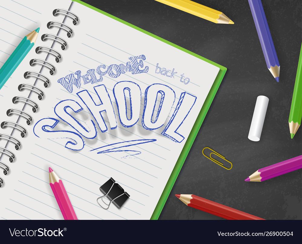Back to school top view design hand