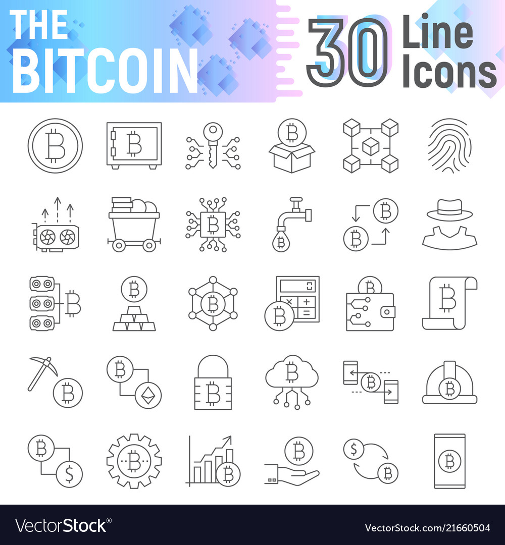 Bitcoin thin line icon set cryptocurrency symbols