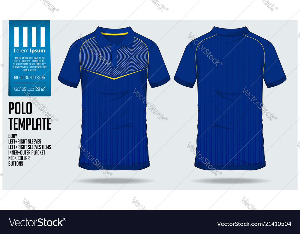 060088cf Blue polo t shirt sport template design Royalty Free Vector