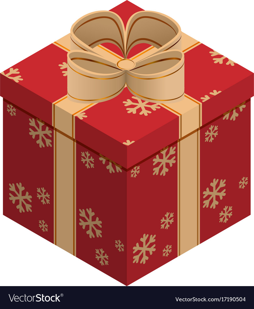 Christmas gift box isometric Royalty Free Vector Image