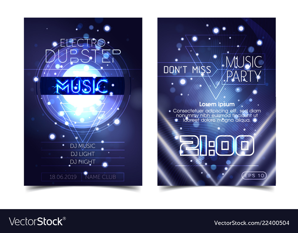 Electro sound party music poster electronic club