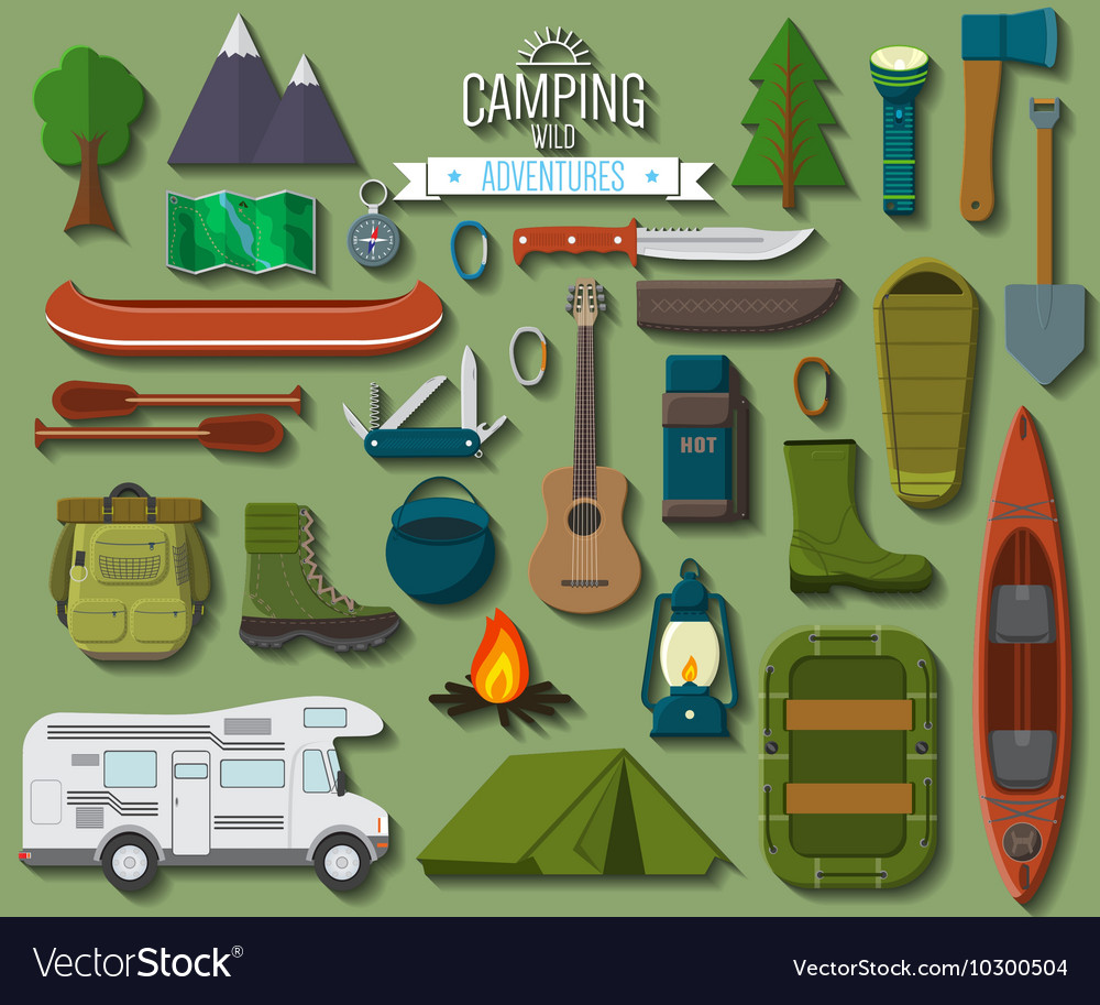 Flat design modern of camping and hiking equipment