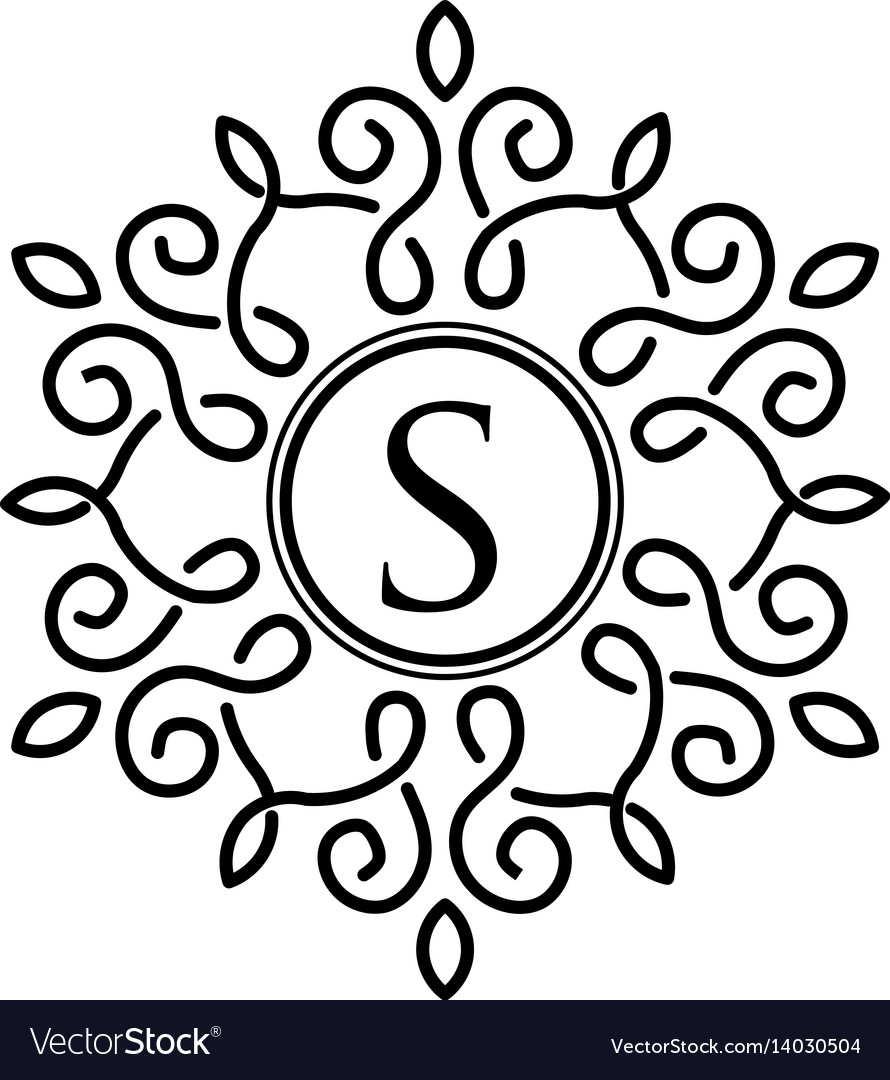 Letter s with elegant frame design vector image