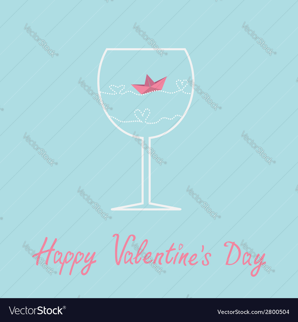 Origami paper boat and heart wave wine glass