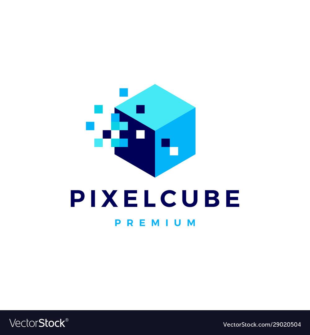 Pixel cube box digital logo icon