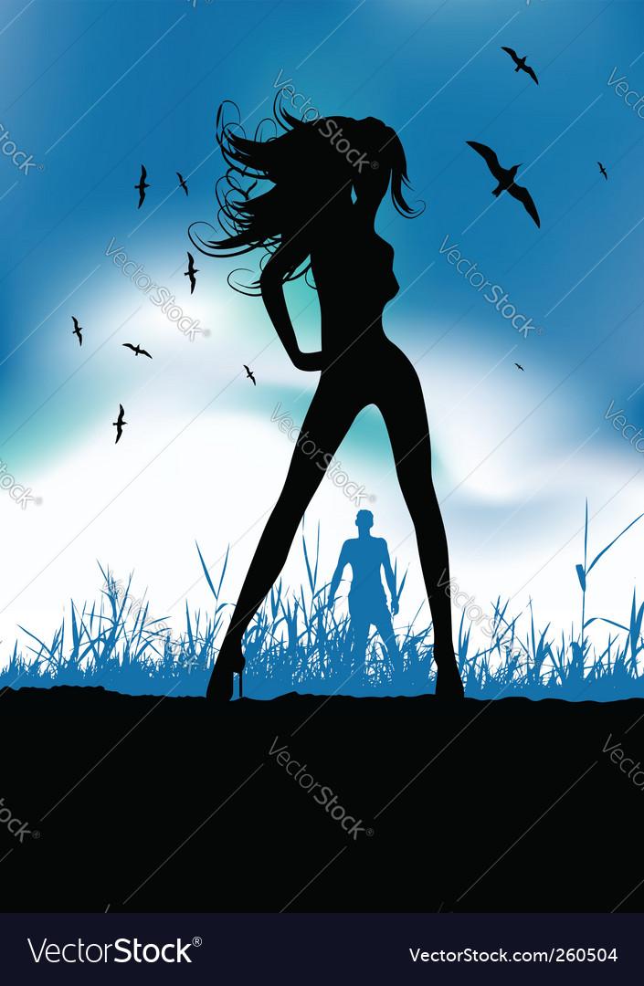 Pretty woman silhouette on nature
