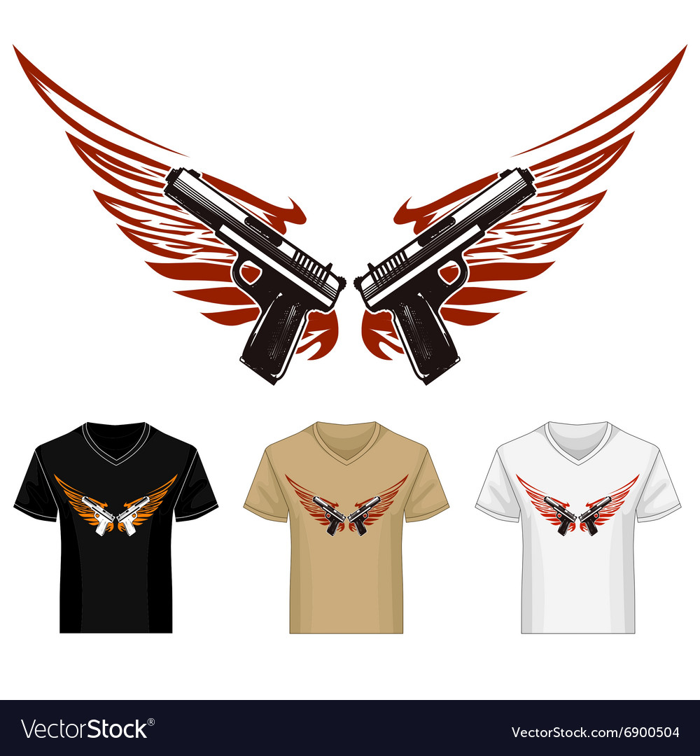 Shirt Template with Guns and Wings