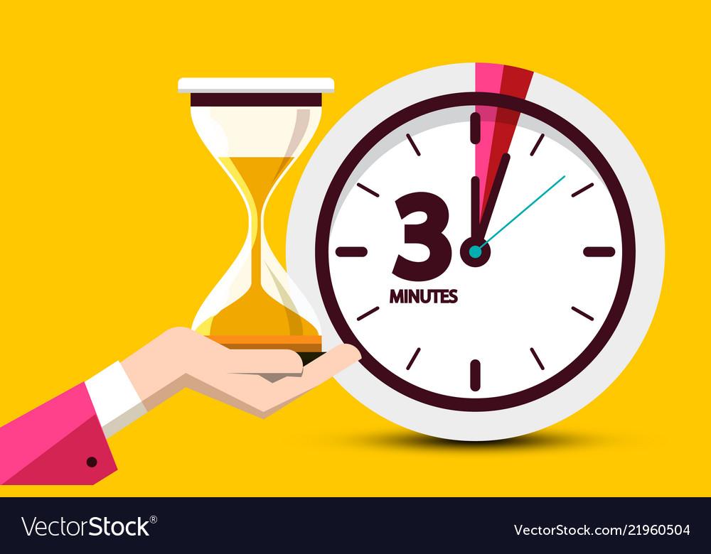 Three minutes countdown design on yellow