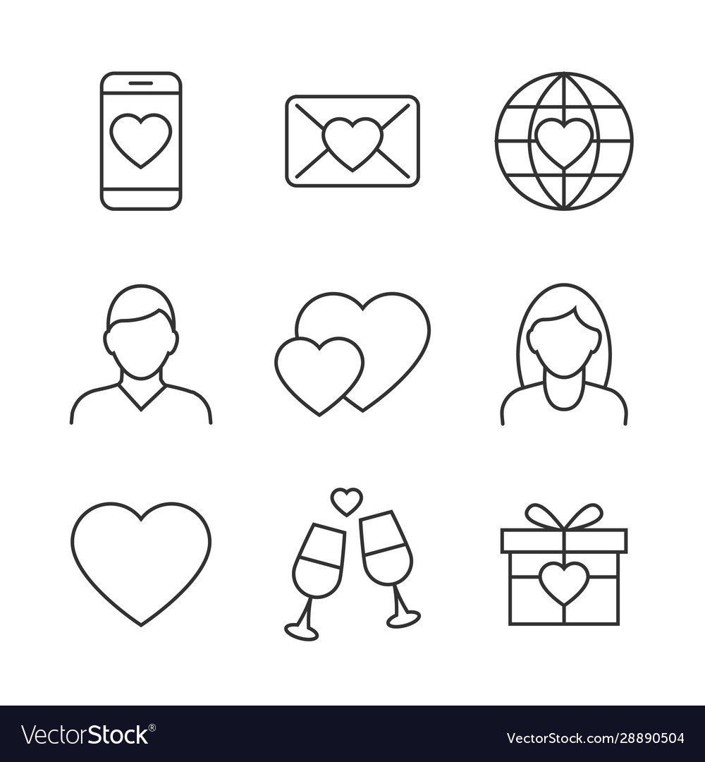 Valentines day linear icons on white background