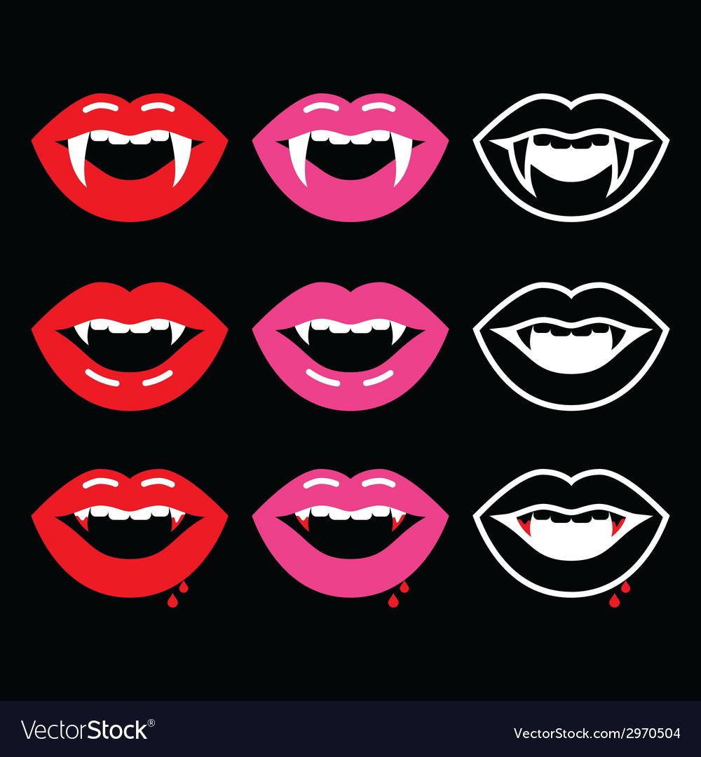 Vampire Mouth Vampire Teeth Icons On Black