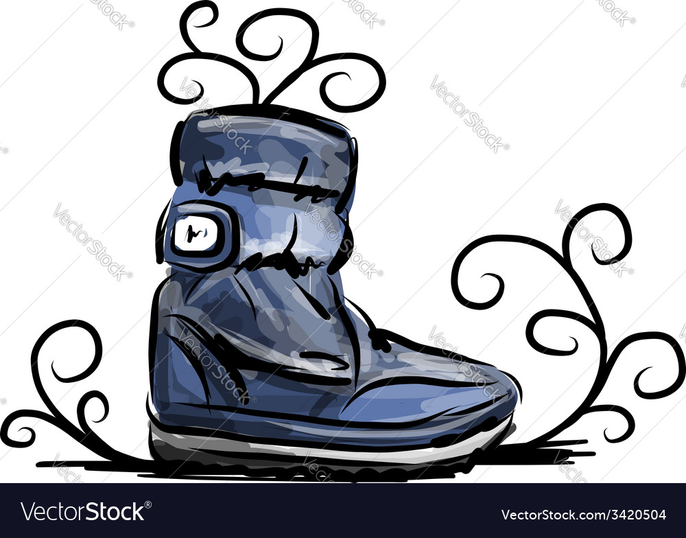 Winter shoes sketch for your design