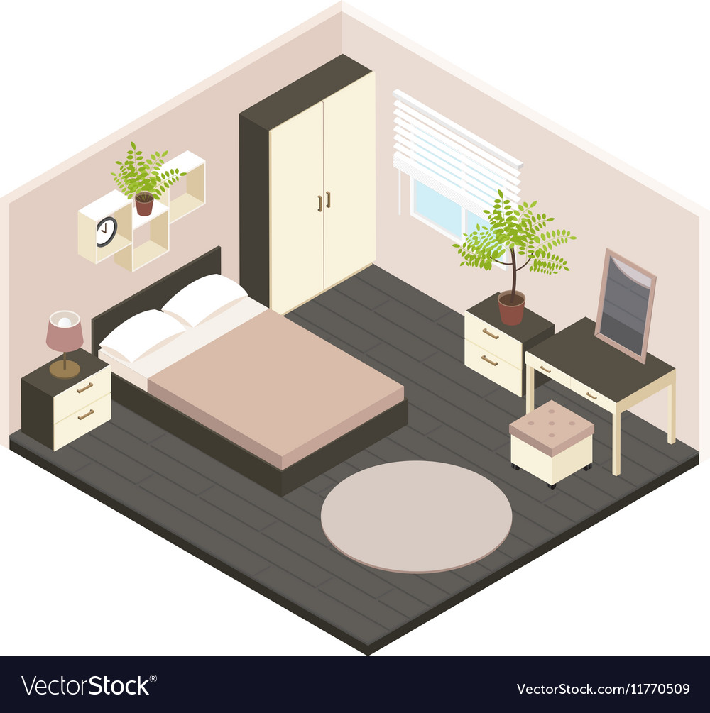 11d isometric bedroom interior Royalty Free Vector Image