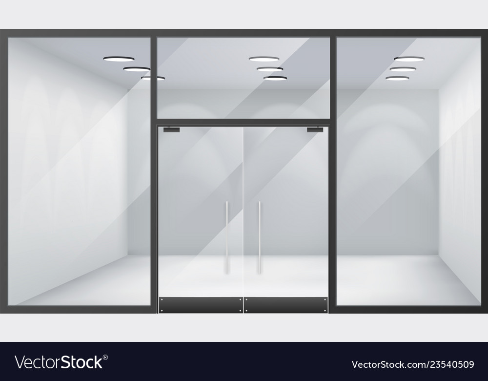 3d shop empty interior front store realistic