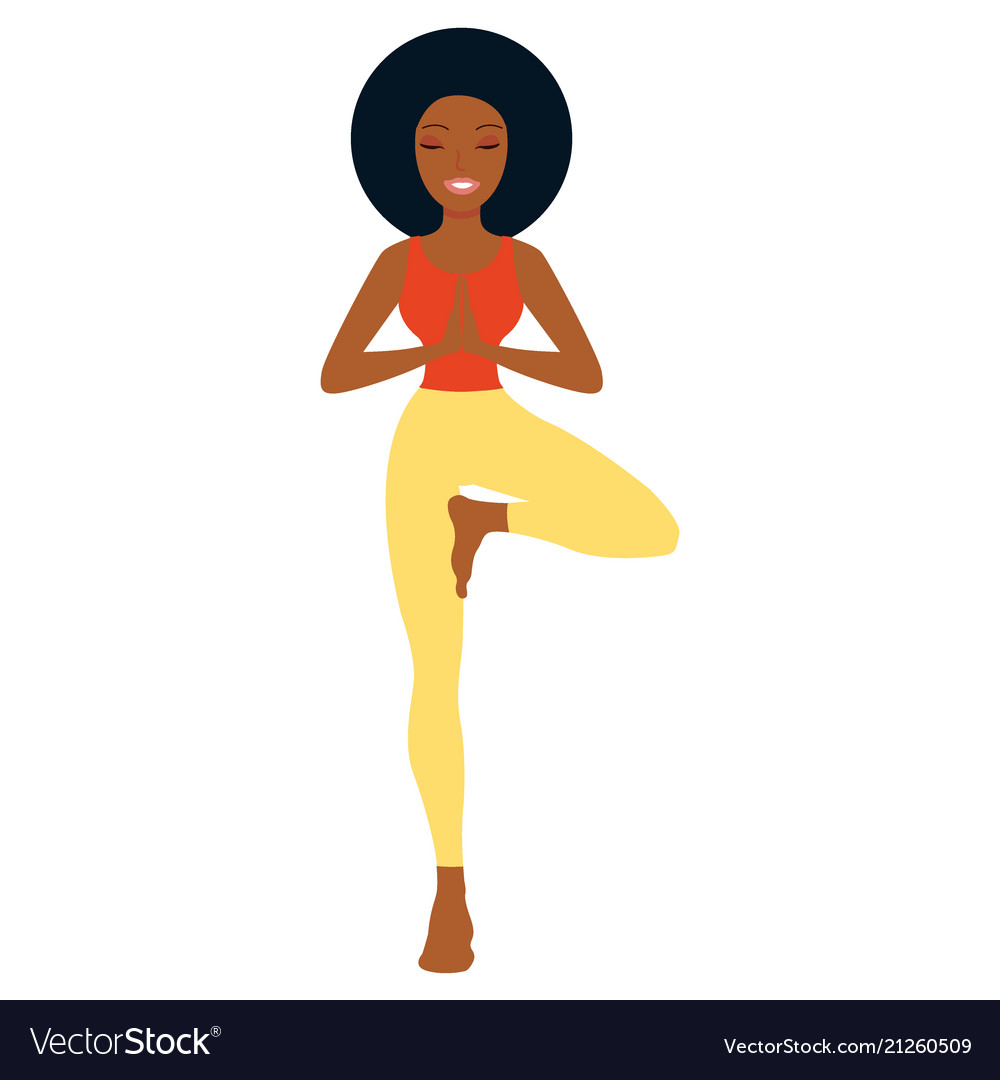 Afro - american woman in yoga standing pose white