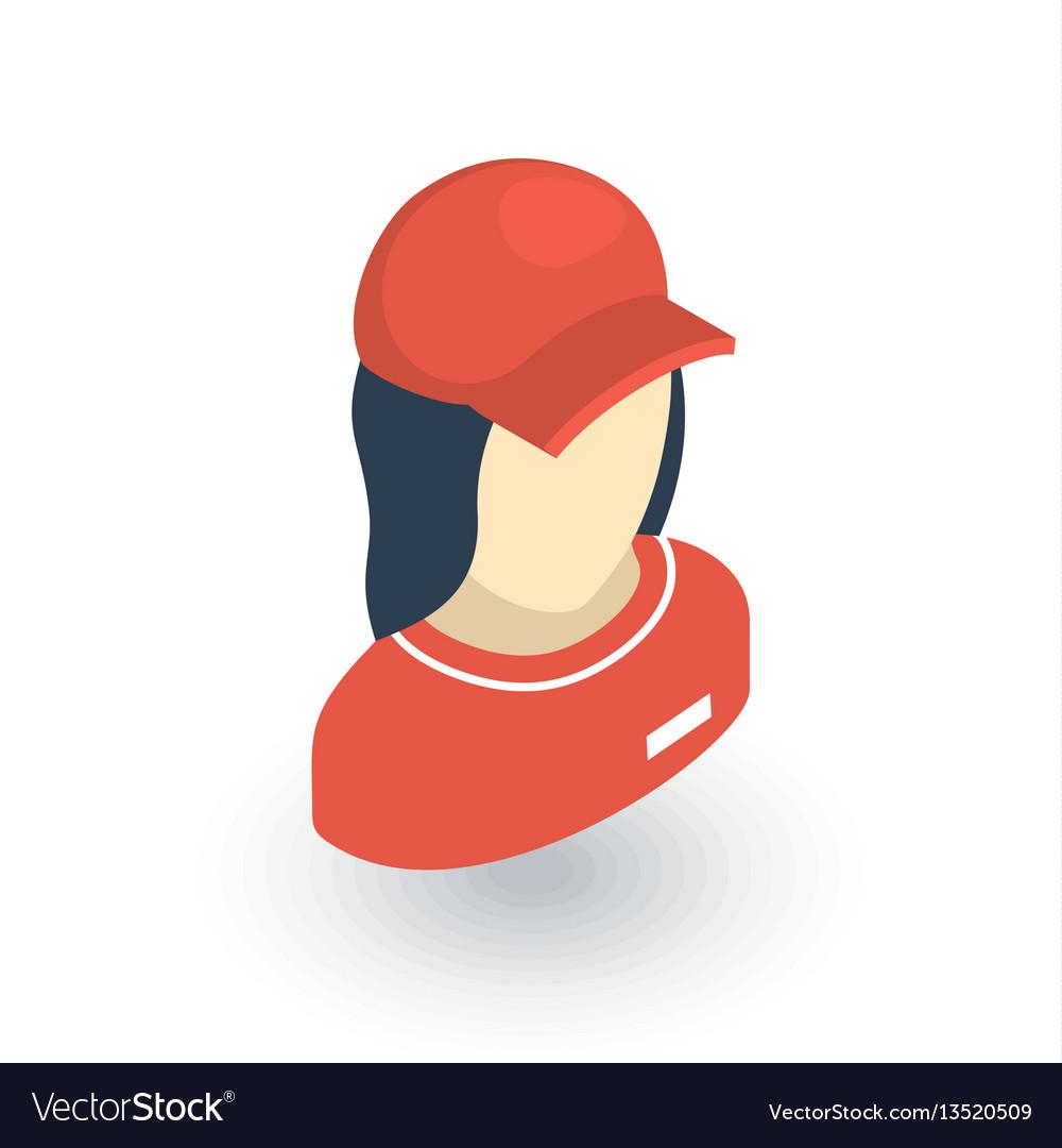 Beautiful woman in red uniform avatar isometric