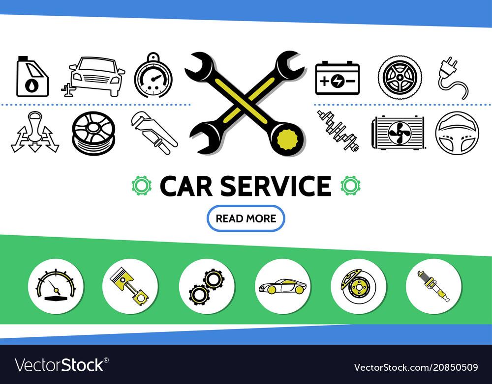 Car service line icons set