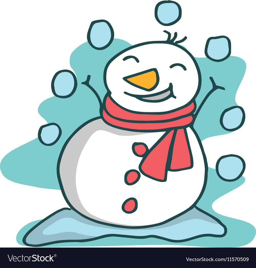 Character snowman object Christmas cartoon