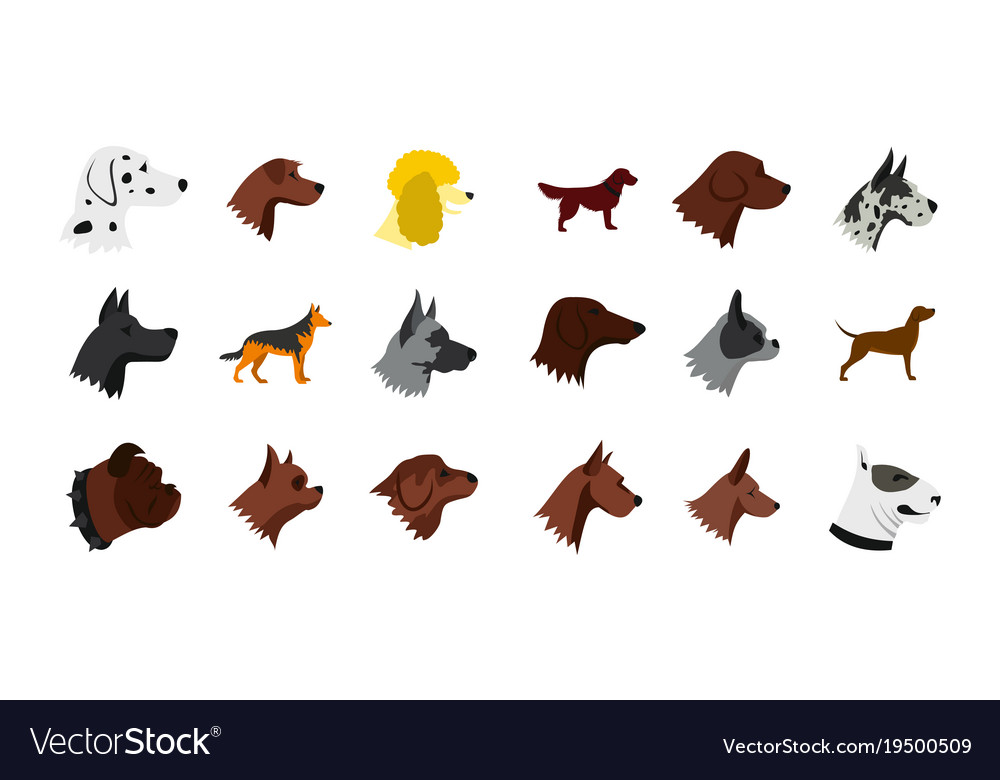 Dog icon set flat style