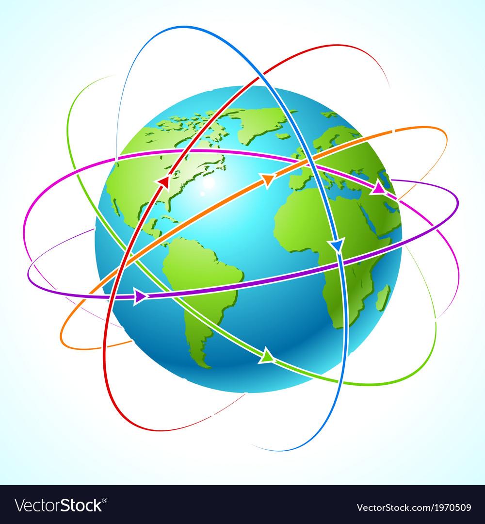 Globe with orbits map Clean
