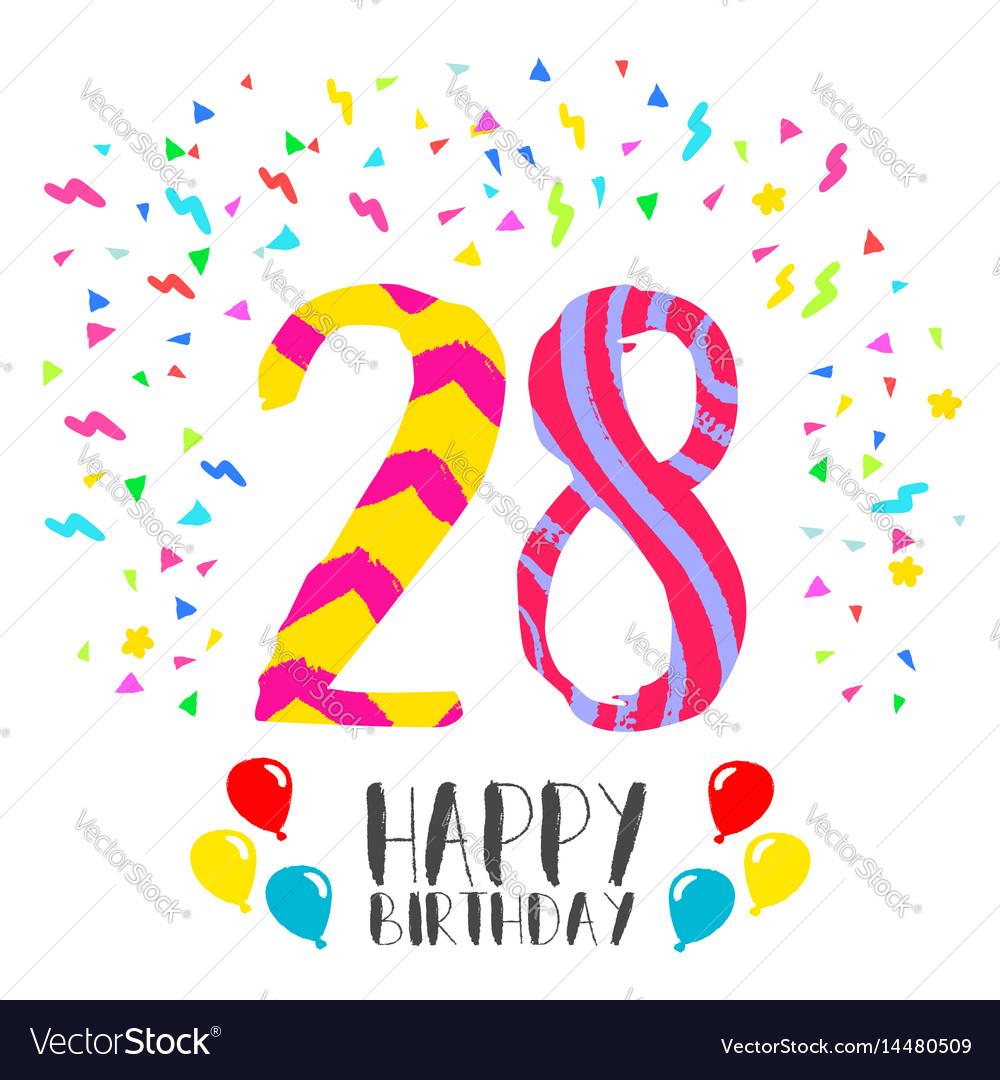 Happy birthday for 28 year party invitation card vector image stopboris Choice Image