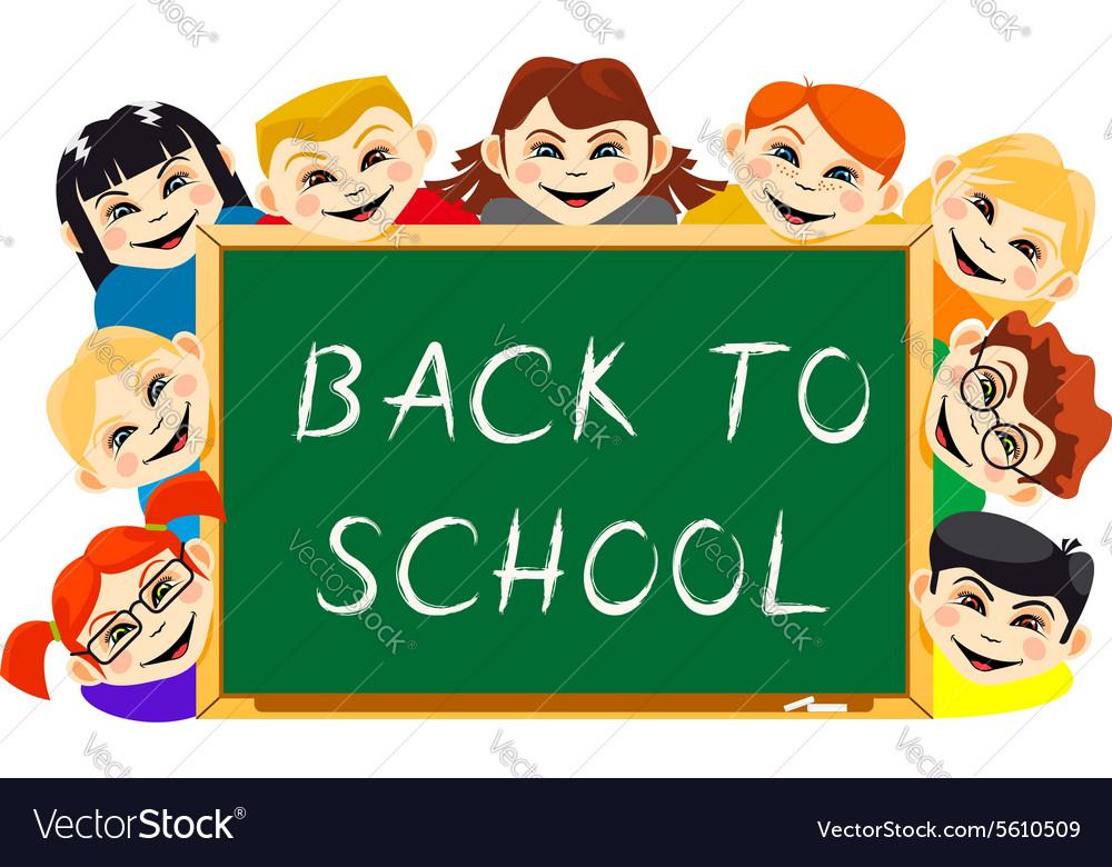 Happy boys and girls near school board