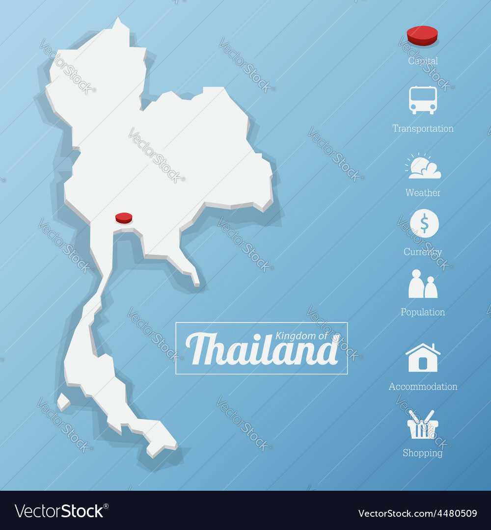 Kingdom Of Thailand Map Royalty Free Vector Image