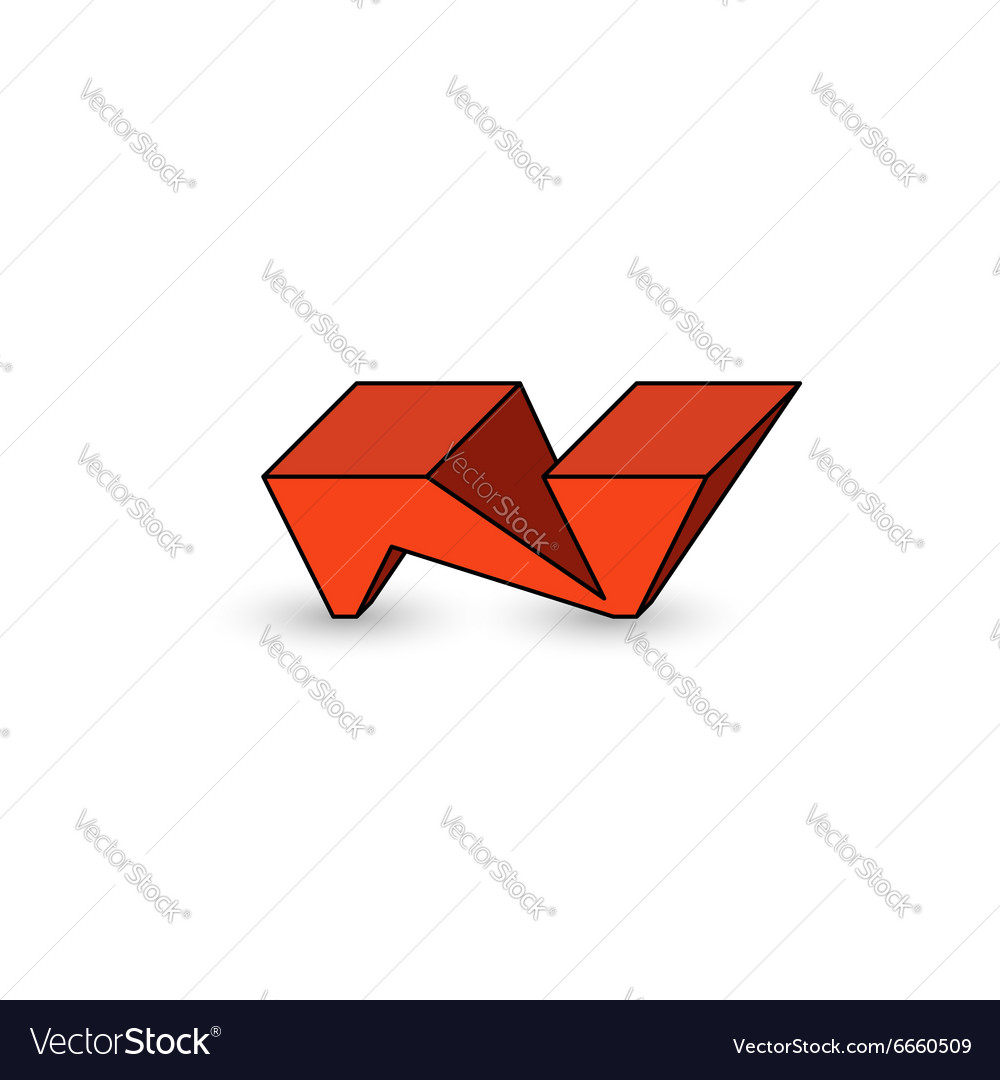 Logo N Letter Graffiti Cool Youth Style 3D Vector Image