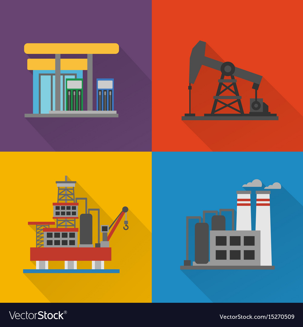 Oil industry modern concept design flat set