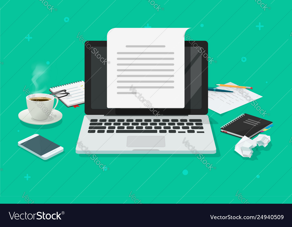 Writer workplace and computer paper sheet