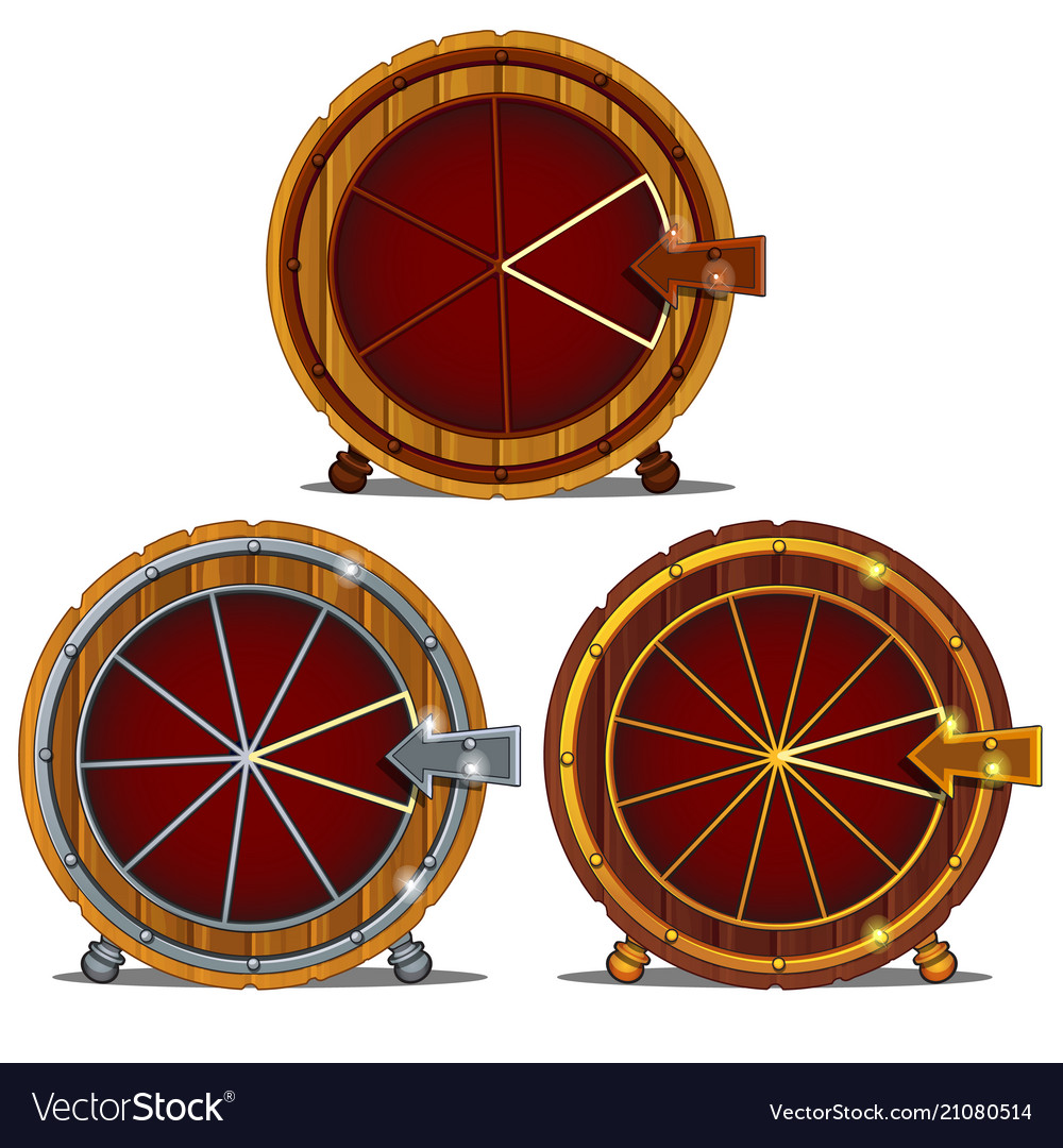 A set of wooden wheel of fortune isolated on a