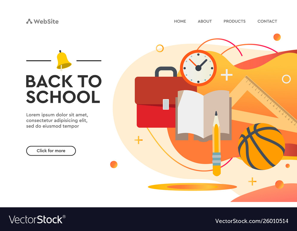 Back to school concept web design page templates