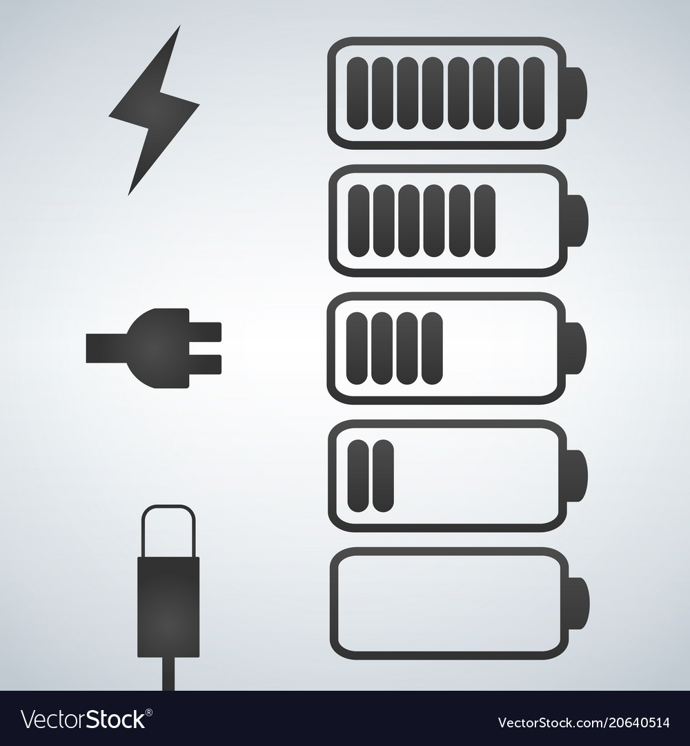 Battery icon charge from high to low plug and
