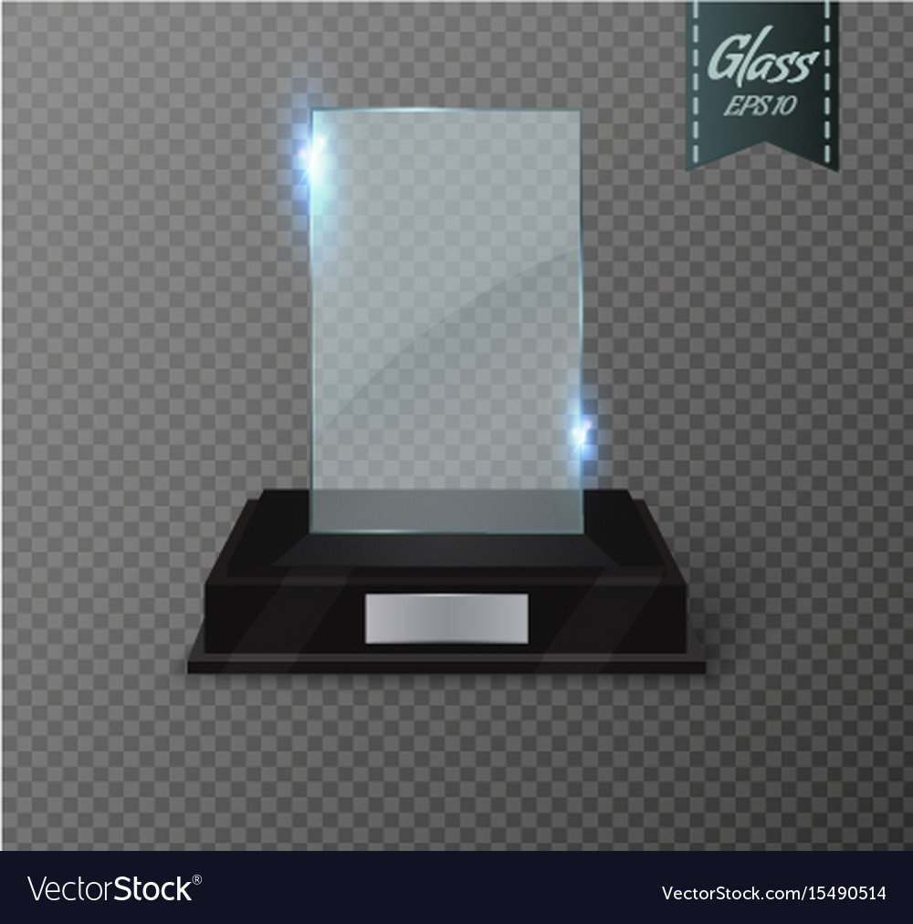 Blank glass trophy award on a transparent vector image on VectorStock