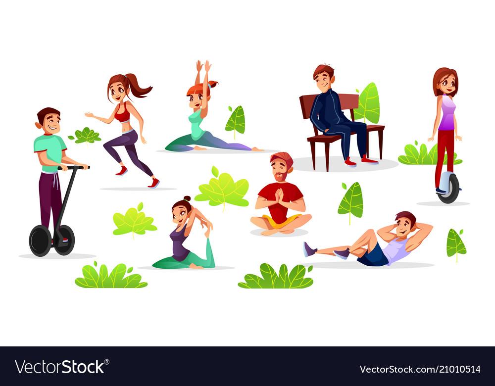 Cartoon people leisure activities in park