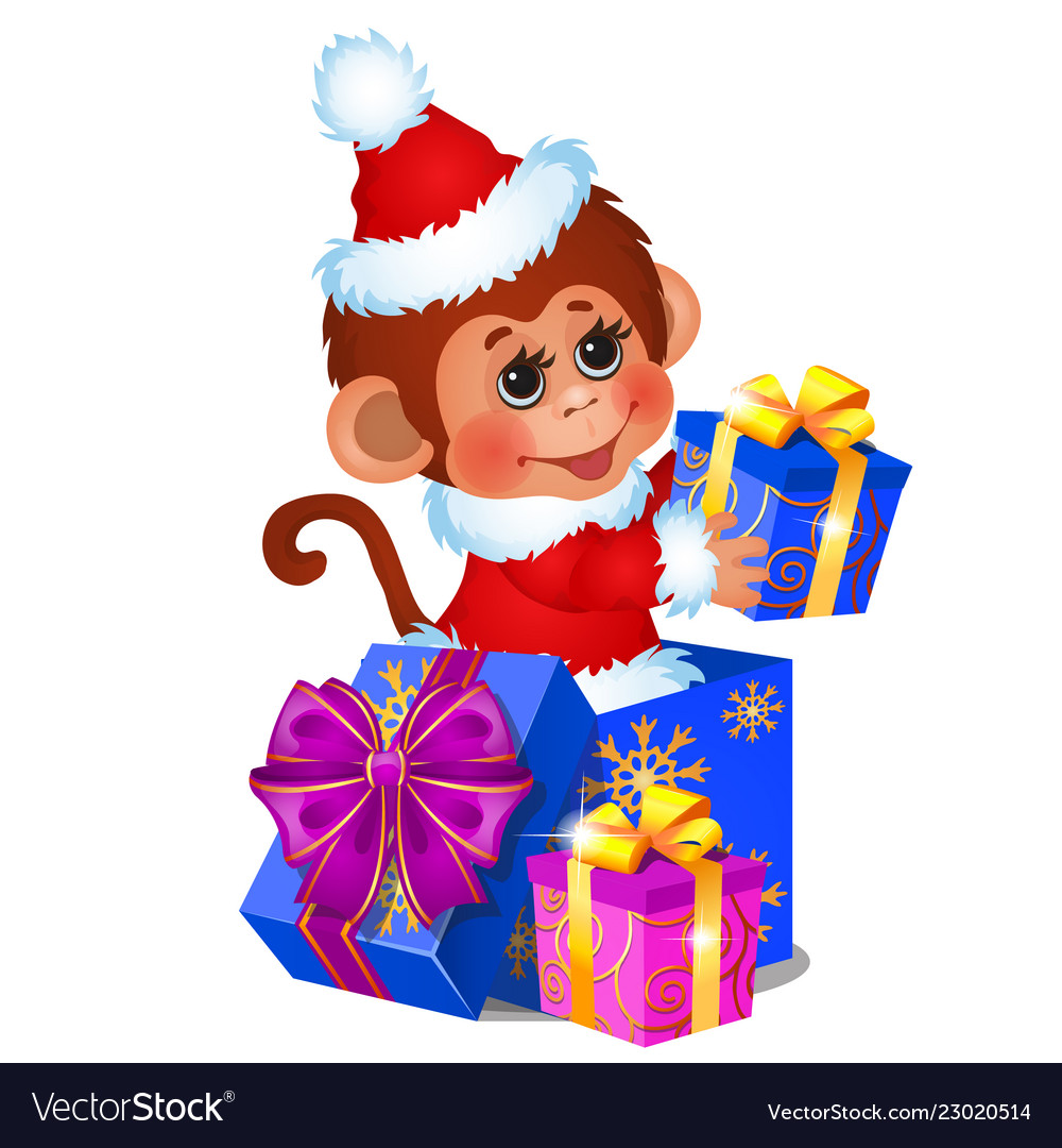 Cute monkey dressed as santa claus gift boxes