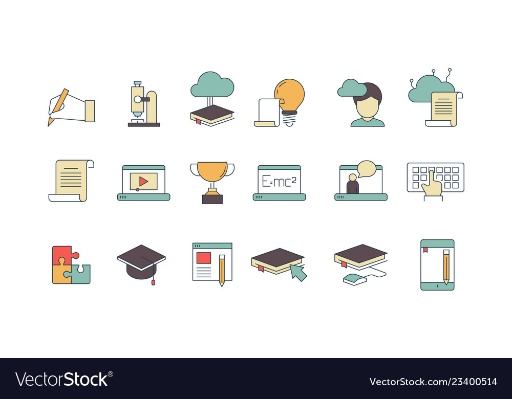 Education online symbols special learning courses