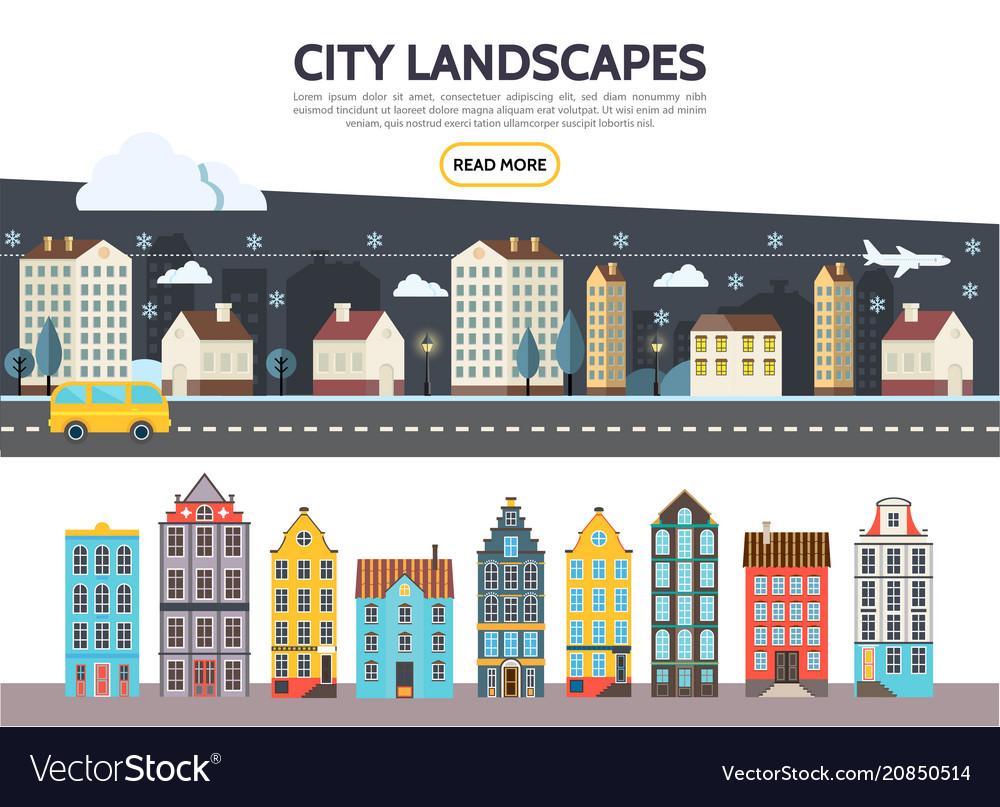 Flat city landscape template