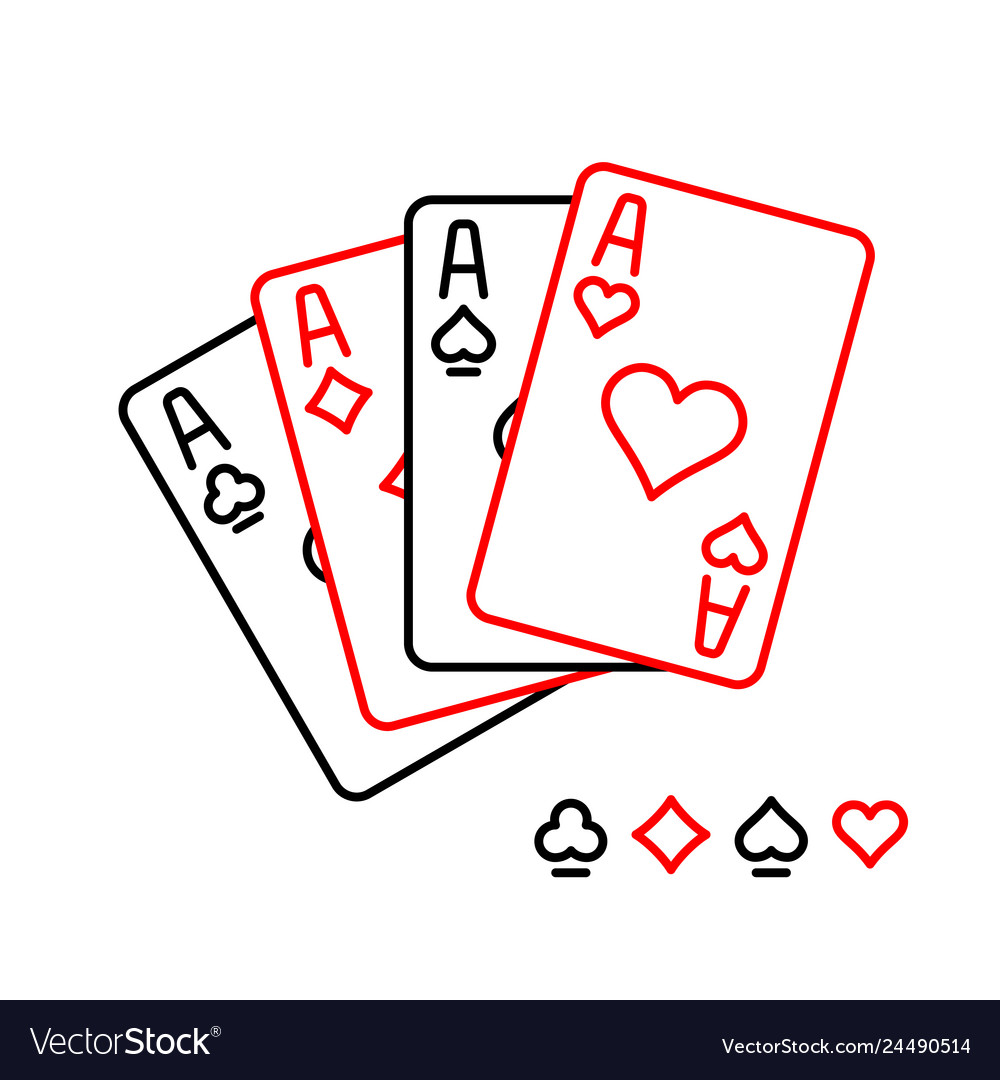 Four aces playing cards line style