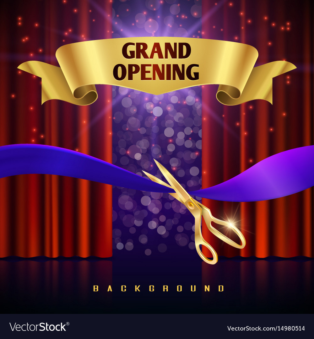 Grand opening concept with red curtains